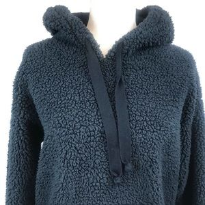 American Eagle Fuzzy Sherpa Navy Hooded Pullover